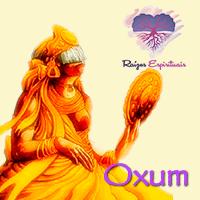 Imagem de Oxum Orixá, simbolizada por uma bela mulher vestida na cor amarelo ouro, segurando um espelho onde admira sua beleza.