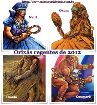 Orixás regentes de 2012 indicados pela mãe de santo Makena Mwanajuma
