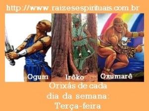 Ogum, Irôko, e Oxumarê comandam a terça-feira