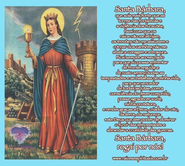 Santa Bárbara homenageada em 04 de dezembro