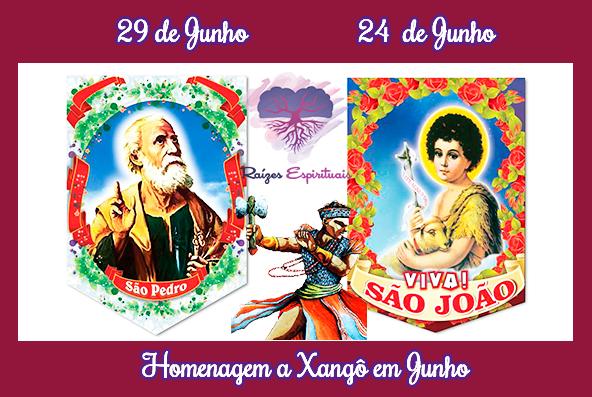 Xangô sincretizado no catolicismo com São João e São Pedro