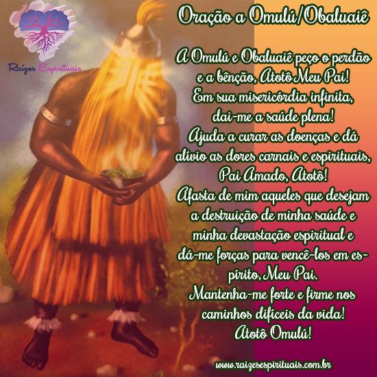 a oração a omulú-obaluaiê escrita ao lado da imagem do orixá que segura um incensário