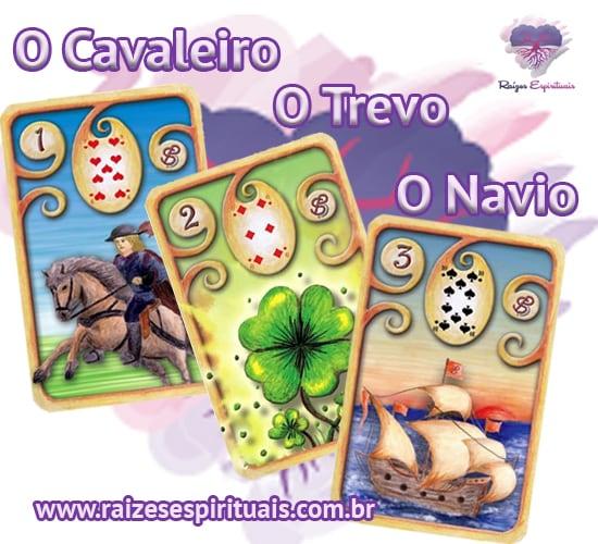 O Cavaleiro, O Trevo e O Navio - no Baralho Cigano, cada uma delas, combinada com um naipe tem o seu significado único e preciso.