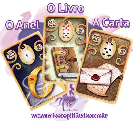 O Anel, O Livro e A Carta - Cada uma destas cartas ciganas,  combinada com um naipe, tem o seu significado único e preciso.