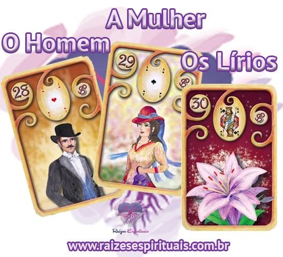 O Homem, A Mulher e Os Lírios. Cada uma destas cartas ciganas,  combinada com um naipe, tem o seu significado único e preciso.