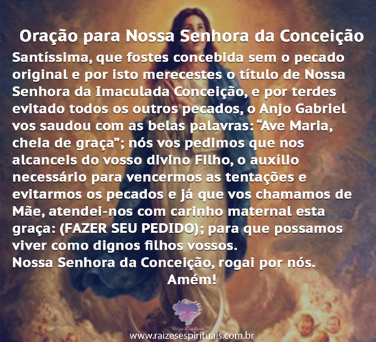 Oração para Nossa Senhora da Conceição