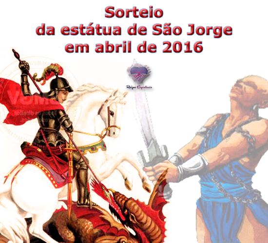 """Dia 29 de abril de 2016 sortearemos uma estátua de São Jorge no site """"Raízes Espirituais"""""""
