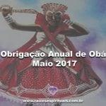 Obrigação anual de Obá – Maio 2017