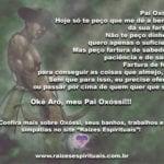 Pai Oxóssi, Hoje só te peço que me dê a benção da sua fartura…