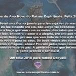 Votos de Ano Novo do Raízes Espirituais. Feliz 2018!