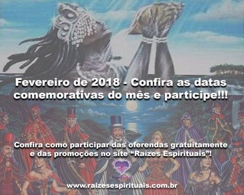 Fevereiro de 2018 - Confira as datas comemorativas do mês e participe!!!