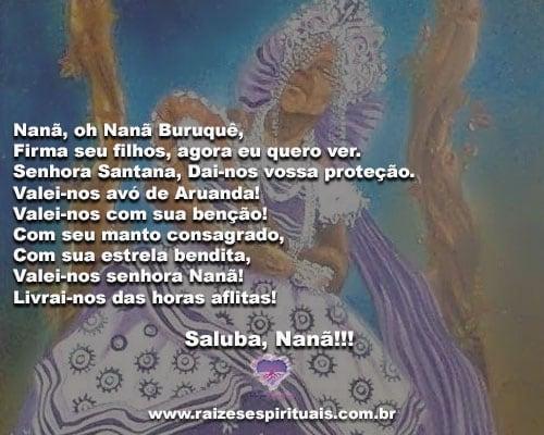 Minha mãe é Nanã, É o Orixá mais velho do céu. Saluba, Nanã!!!
