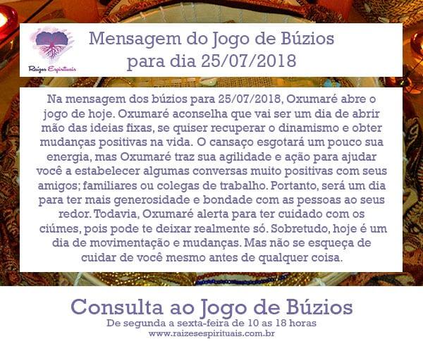 Mensagem dos búzios para 25/07/2018