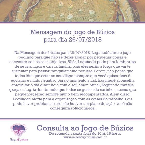 Mensagem dos búzios para 26/07/2018: Logunedé abre o jogo de hoje