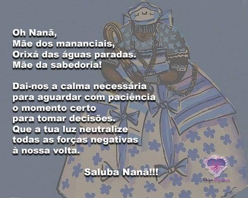 Oh Nanã, Mãe dos mananciais,Orixá das águas paradas. Saluba!!!