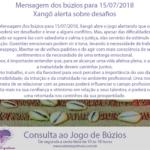 Mensagem dos búzios para 15/07/2018: Xangô alerta sobre desafios