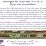 Mensagem dos búzios para 19/07/2018: Ogum abre o jogo de hoje