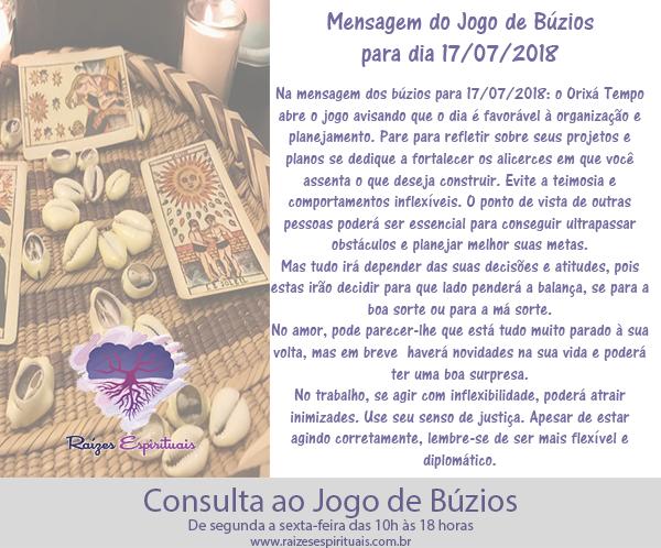 Mensagem dos búzios para 17/07/2018
