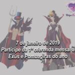 7 de janeiro de 2019- participe da 1ª oferenda mensal a Exús e Pombagiras do ano