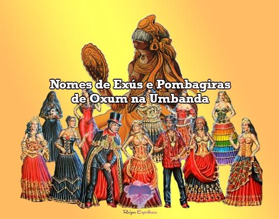 imagem de vários Exús e Pombagiras  com a orixá Oxum ao fundo e o título: Nomes de Exús e Pombagiras de Oxum
