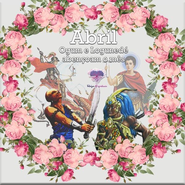 Imagem de Ogum ao lado de São Jorge e Logunedé ao lado de Santo Expedito rodeados por uma coroa de rosas