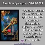 "Carta do Baralho cigano para 31-08-2019: ""A Chave"""