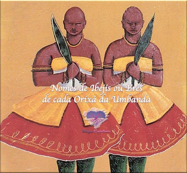 imagem de dois gêmeos idênticos com os dizeres: Nomes de Ibejis ou Erês de cada Orixá da Umbanda.