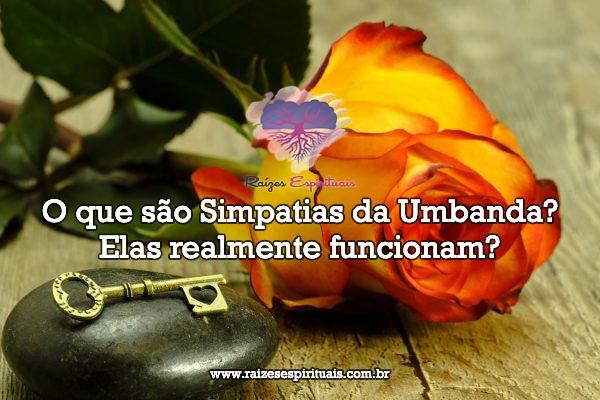 Imagem de uma rosa amarela e uma chave sobre uma pedra preta com o título: O que são simpatias da umbanda?Elas realmente funcionam?