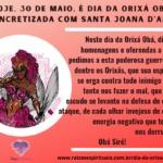 Hoje, 30 de maio, é dia da Orixá Obá, sincretizada com Santa Joana D'Arc