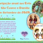 Obrigação anual aos Erês e São Cosme e Damião em Setembro de 2020
