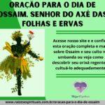 Oração para o dia de Ossaim, Senhor do axé das folhas e ervas