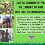 Datas comemorativas de janeiro de 2021 nos cultos umbandistas