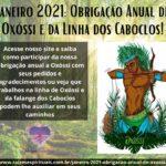 Janeiro 2021: Obrigação Anual de Oxóssi e da Linha dos Caboclos!